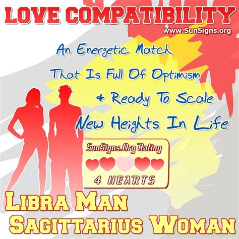libra man and sagittarius woman love compatibility sun signs