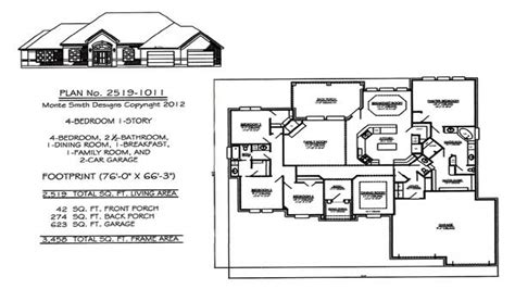 1 story house plans with 4 bedrooms one story house plans