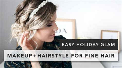 easy hairstyles for thin hair youtube easy holiday hairstyle for fine hair makeup youtube
