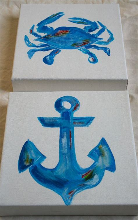 Hand Painted Love Anchors The - two piece anchor crab hand painted canvas