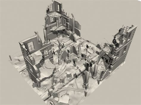3d Home Design Free Architecture And Modeling Software ruins remains building debris 3ds 3d studio max