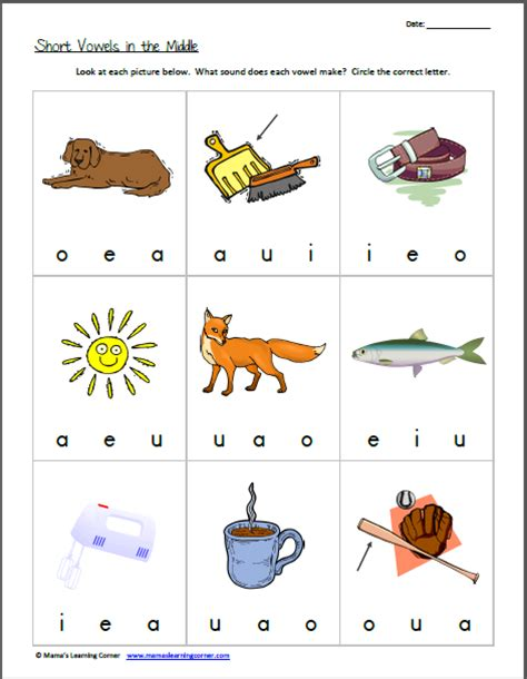 Middle Sound Worksheets by Recognizing Vowel Sounds Vowels In The Middle