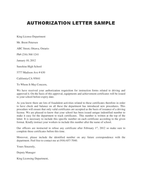 authorization letter format for individual letter of authorization for individual how to