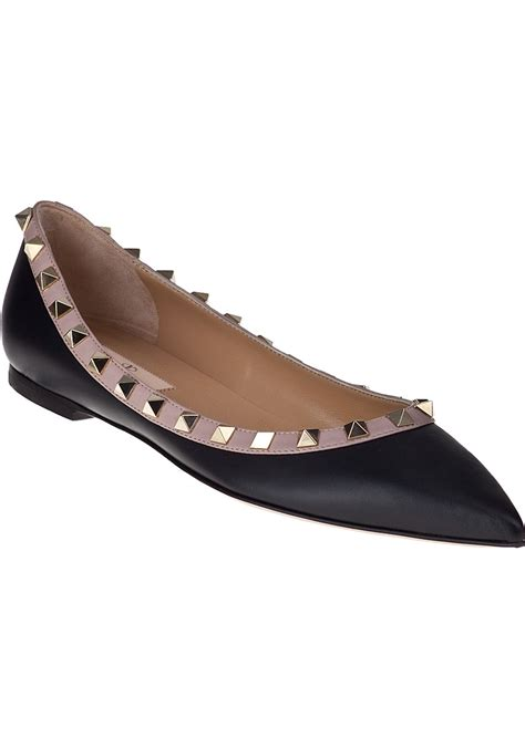 black ballet flats shoes lyst valentino rockstud ballet flat black leather in black