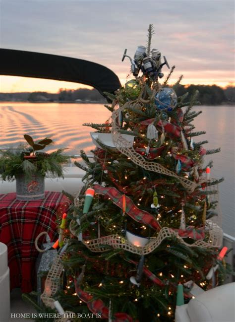 fishing themed christmas tree on pontoon boat home is