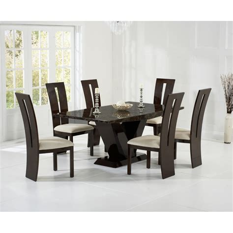 harris valencie brown marble dining table with valencie chair harris from emporium