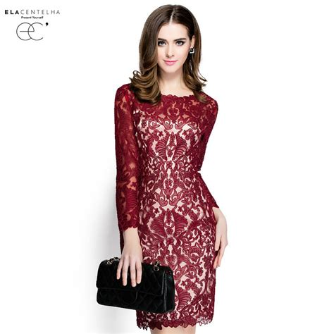 Lace Hook Flower Dress elacentelha brand dress summer autumn lace hook