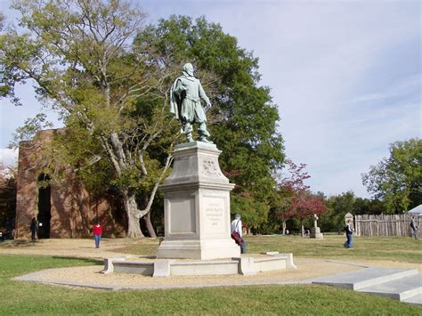 jamestown va file view of james town island captain john smith statue