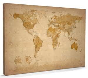 World Map Canvas Print by Map Of The World Map Canvas A1 22x34 Inch M228 Ebay