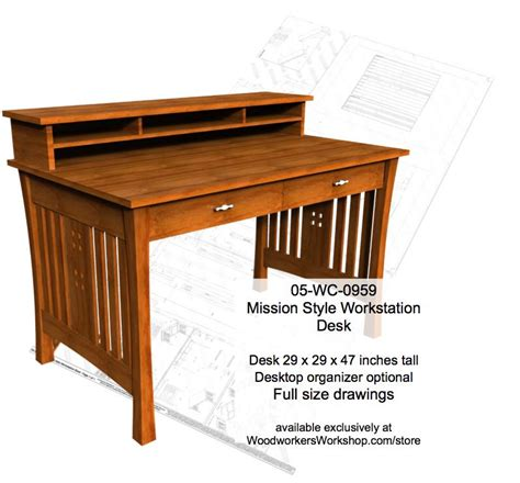 Desk Woodworking Plans by 05 Wc 0959 Mission Style Workstation Desk Woodworking