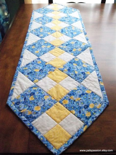 Patchwork Runner - blue yellow table runner quilted patchwork by