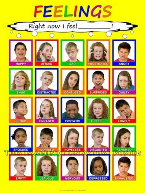 free printable emotions poster feelings chart i really like that it has real kids