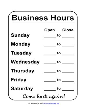 hours of operation template hours sign template calendar template 2016
