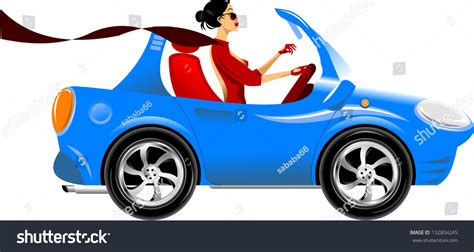 blue girly cars beautiful driving a blue car vector illustration