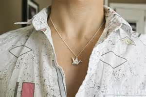 foldit s first fine silver origami crane necklaces
