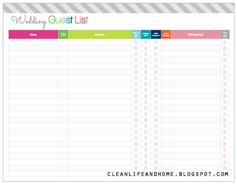 printable wedding invite list clean and home freebie friday printable wedding