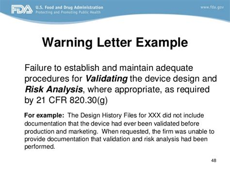 Explanation Letter To For Poor Performance Design Fda Requirements
