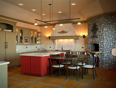 tuscan kitchen islands red island in a tuscan style kitchen if that s a pizza