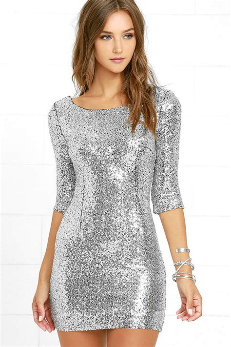 Classy Cocktail Party - silver sequin dress cocktail dress homecoming dress 63 00