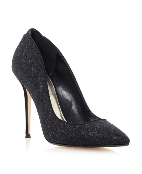 dune ballroom lurex pointed court shoes in black lyst