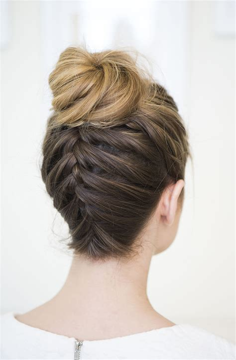 messy bun without shaved side showing upside down braided bun camille styles