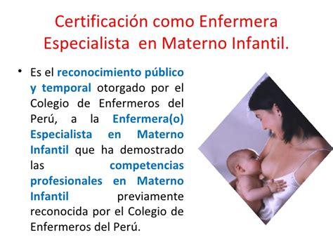 elecciones en el colegio de enfermeros del per consejo certificacion profesional enfermeria especialidad materno