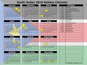 Republic Calendrier 2018 South Sudan 2016 2017 Calendar