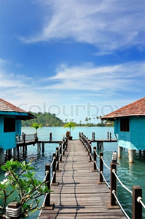 thailand bungalows water wooden footbridge into the water bungalows siam bay