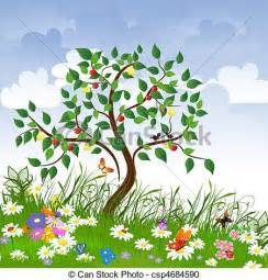 Fruit Flower Basket - vector clipart of flower clearing with fruit trees