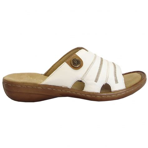 Rieker Regina Comfortable Padded Leather Sandals In White Mozimo