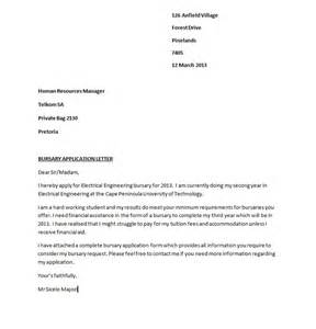 Application Letter Format For The Post Of Bursary Application Guide 2013 Bursary Application Letter Sle