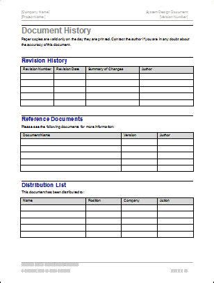 Interface Document Template by Design Document Ms Word Template