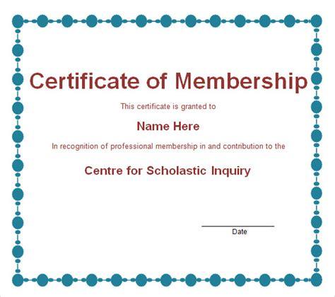 membership certificate template 9 free sle exle