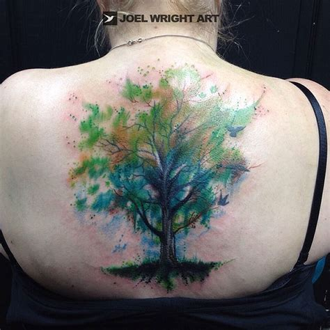watercolor tattoo tree green tree of watercolor joel wright