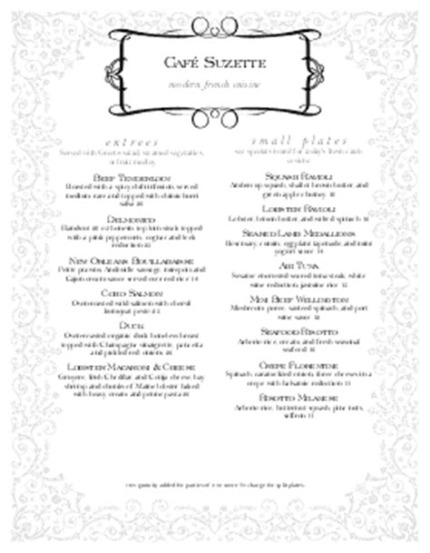 fine dining menu templates musthavemenus