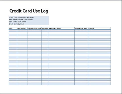 Credit Card Format Excel Credit Card Use Log Template Formal Word Templates