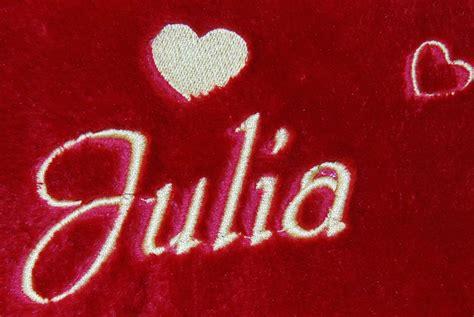Decke mit Name und Herzen bestickt nach Wunsch, sehr