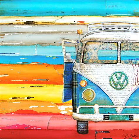 hippie volkswagen drawing art print vw volkswagen van bus retro vintage beach coastal