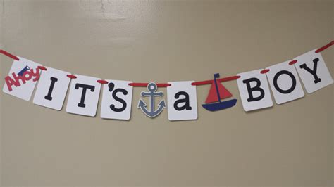 ahoy its a boy picture frame baby shower banner or birthday banner by id