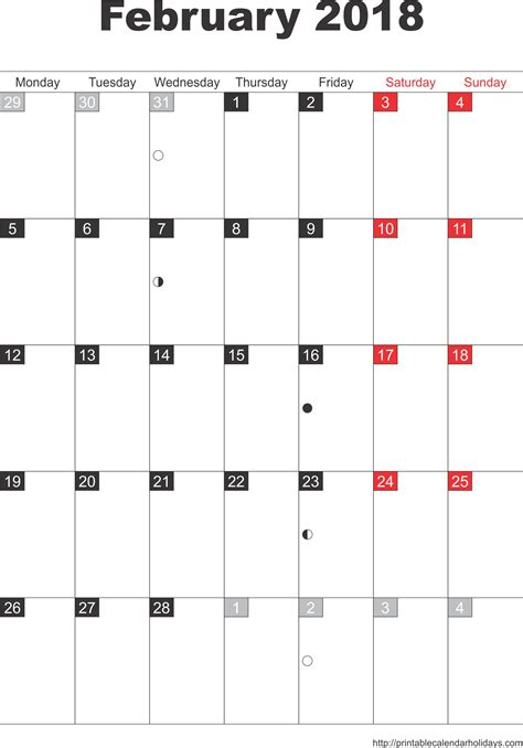 Calendar December 2017 February 2018 February 2018 Calendar Template Portrait Printable