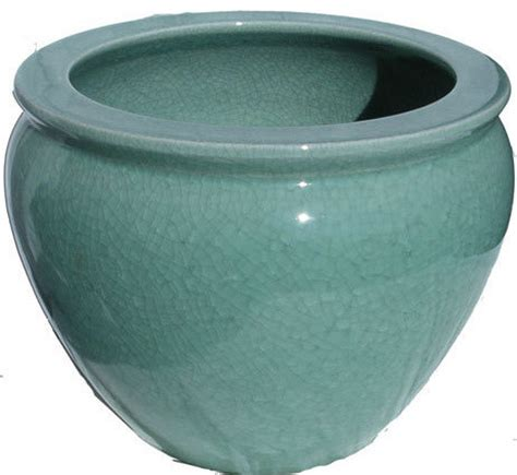 porcelain fish bowl planters in celadon crackle