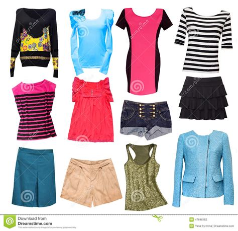 fashion clothes collage wear set isolated