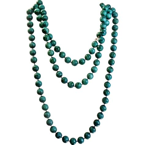 green bead necklace vintage teal green painted necklace