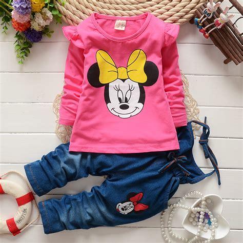Set Minnie Denim Kid bibicola children clothing set toddler minnie mouse t shirt bib suit