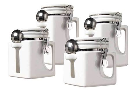 new oggi handles set of 4 white kitchen ceramic canisters