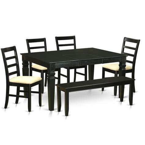 6 Piece Kitchen Table Set by Wepf6d Blk Black Rubberwood 6 Piece Kitchen Nook Dining