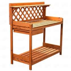 potting bench garden outdoor wooded work bench table