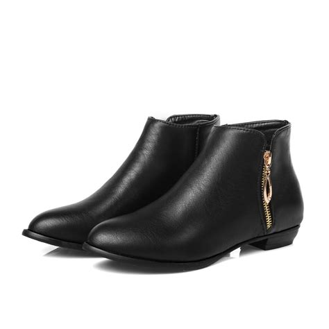 black leather low heel ankle boots boot hto
