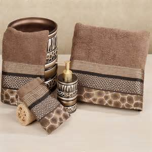 bath towel set safari stripes animal print bath towel set