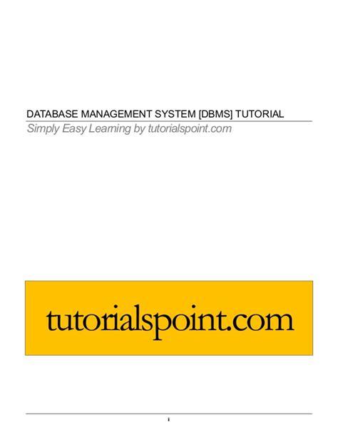 tutorialspoint for dbms dbms tutorial